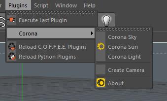 CoronaC4d Plugin Menu