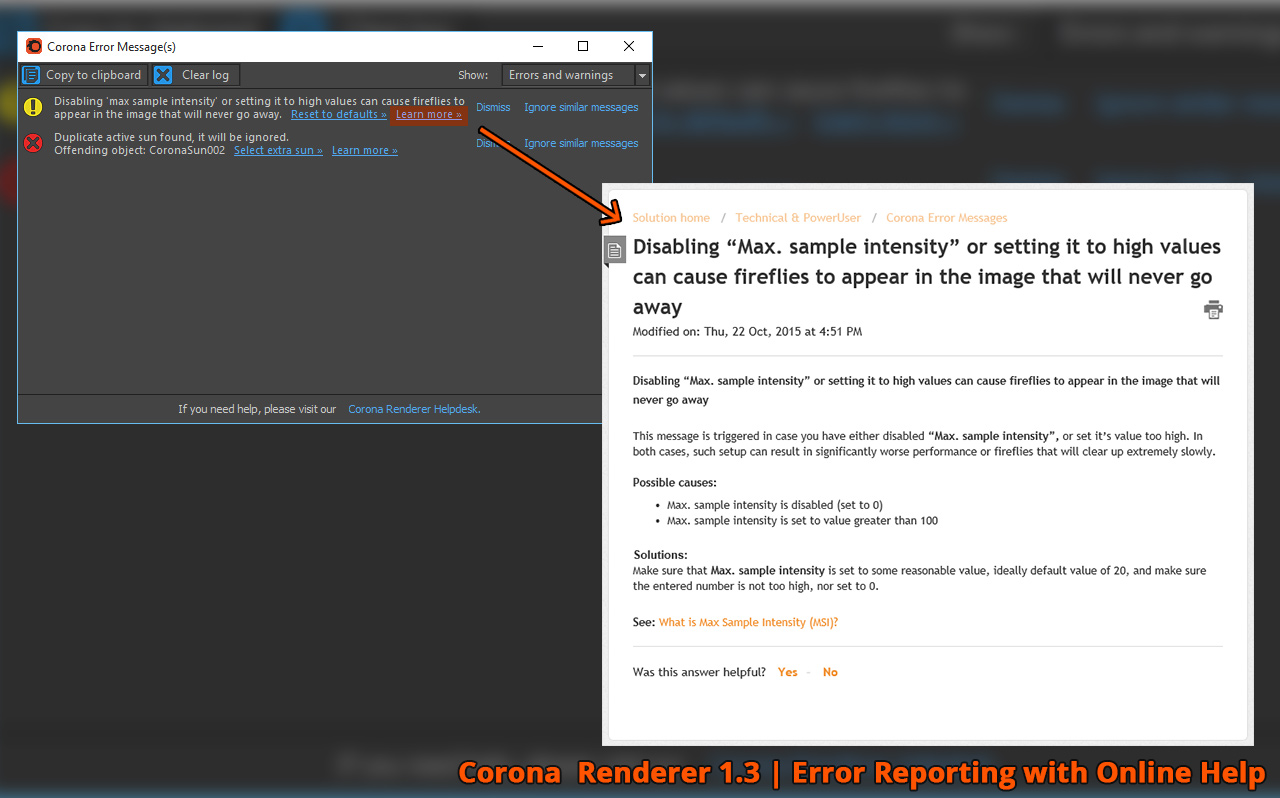 Corona Renderer - Error Reporting with Online Help