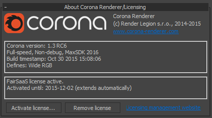 Corona Renderer - Improved About Dialog