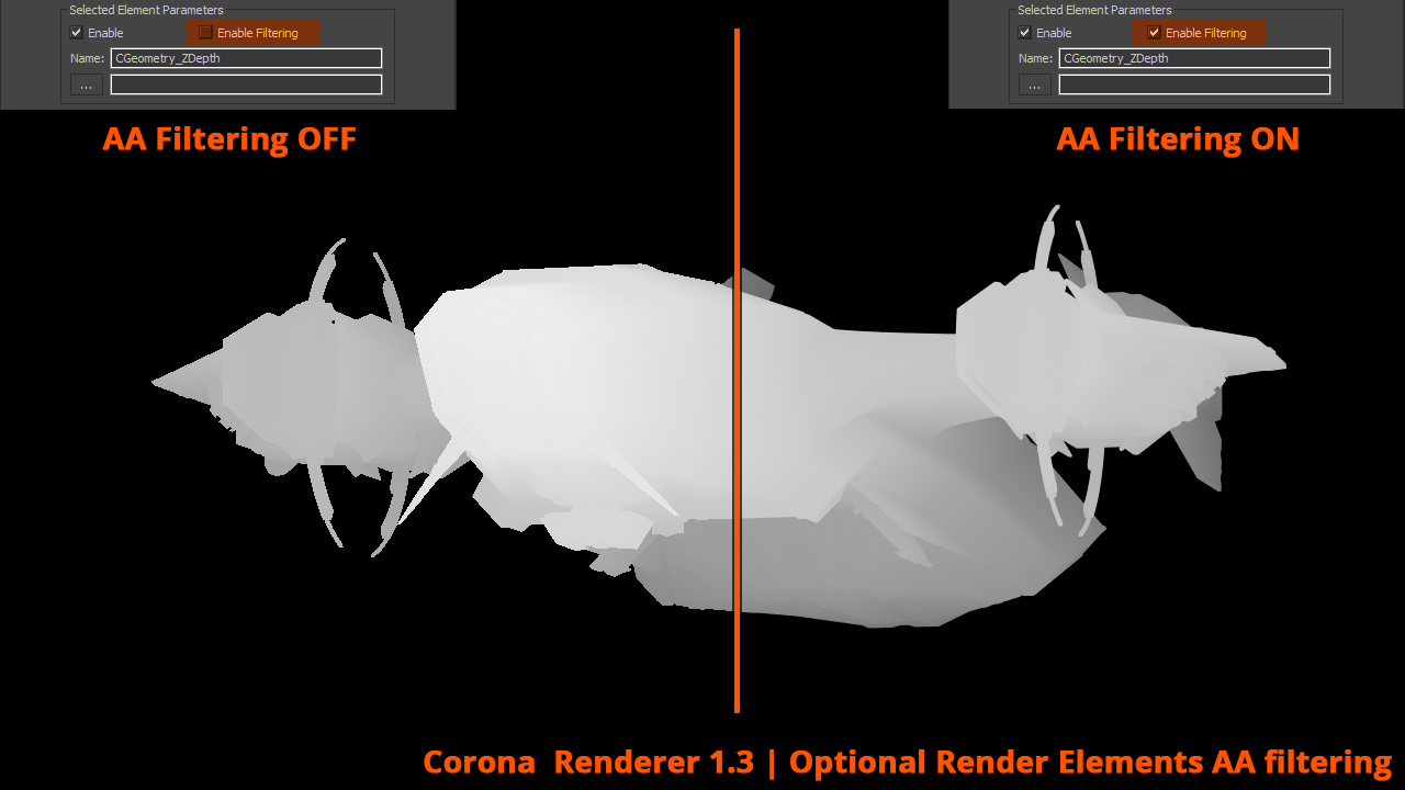 Corona Renderer - Optional Elements AA filtering
