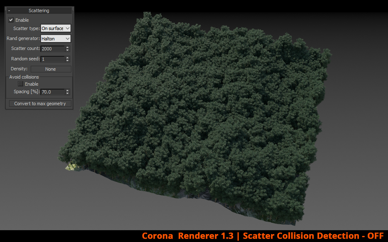 Corona Renderer - Scatter Collision Detection - OFF