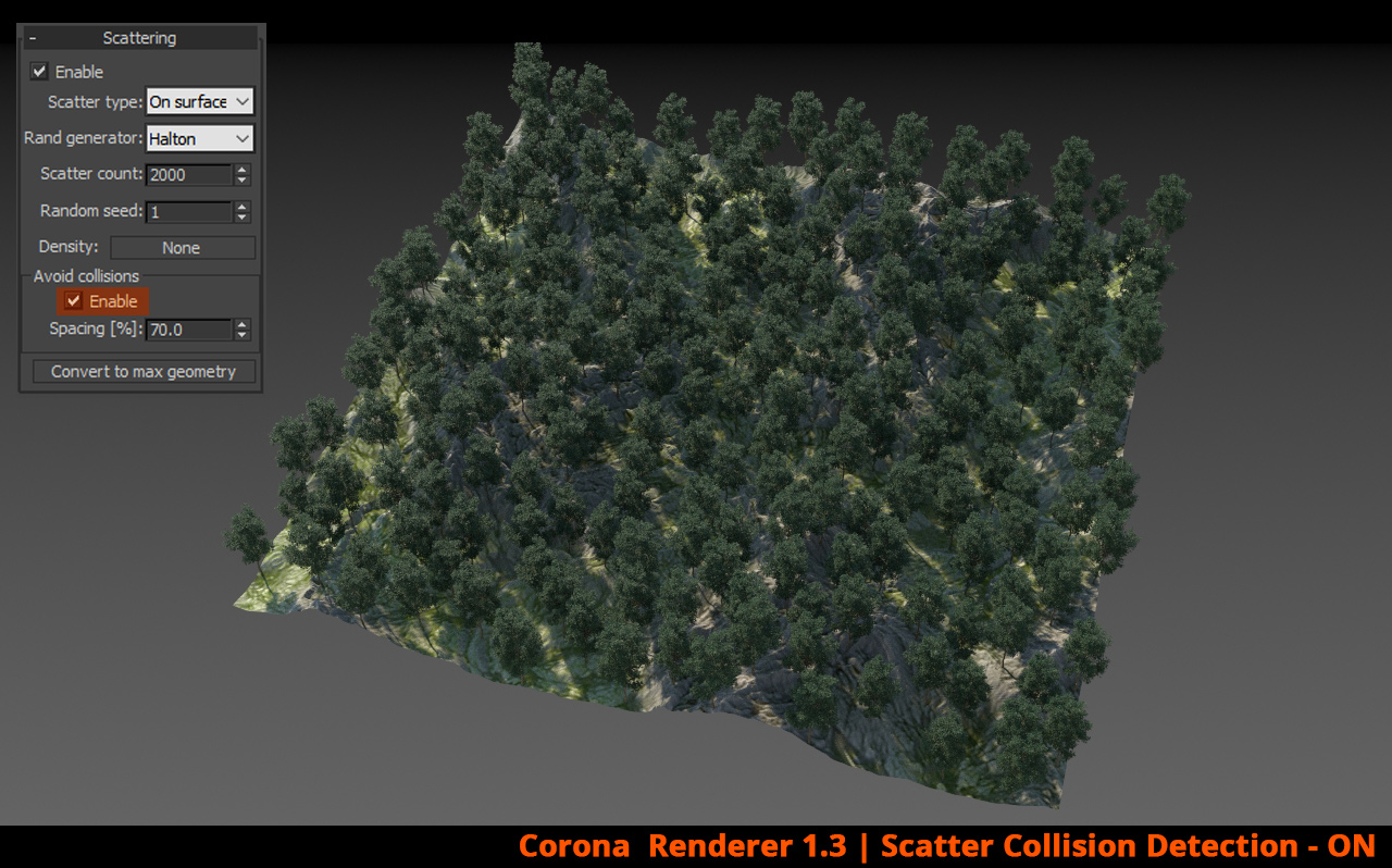 Corona Renderer - Scatter Collision Detection - ON