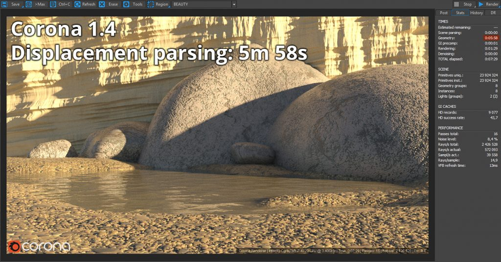Corona Renderer 1.4 Displacement Parsing