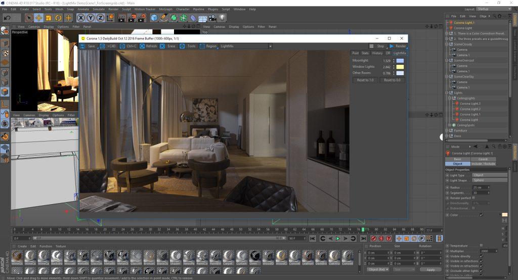 Corona for C4D Interactive LightMix