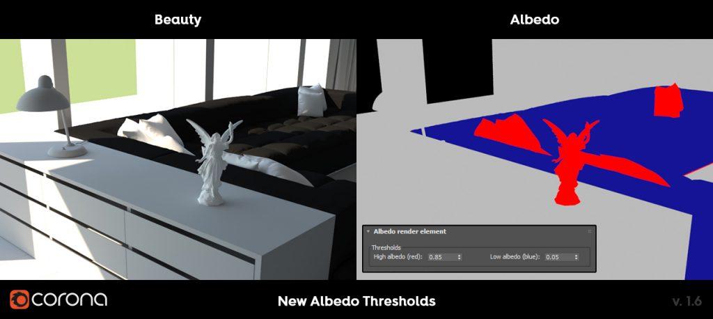 Corona Renderer 1.6 albedo high and low thresholds