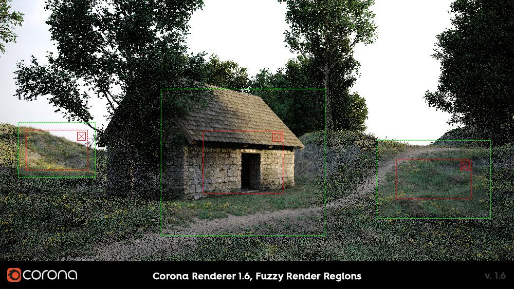 Corona Renderer 1.6 Fuzzy render regions