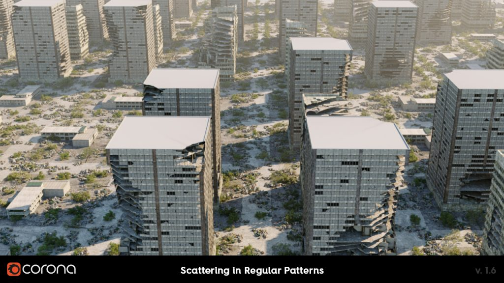Corona Renderer 1.6, Scattering on Splines and in Patterns