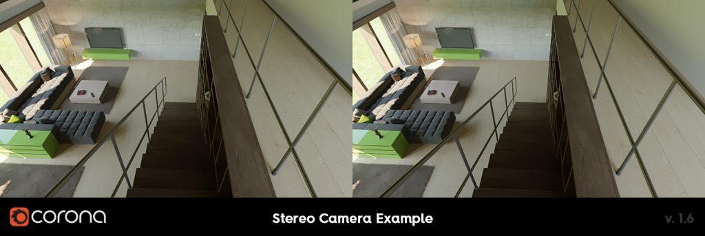 Corona Renderer 1.6, Stereo Camera Example