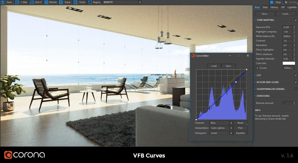 Corona Renderer 1.6 VFB Curves