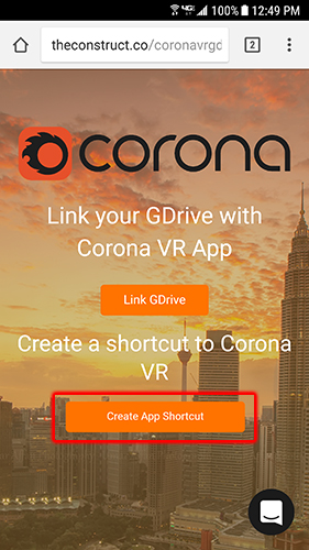 CoronaVR Create app shortcut