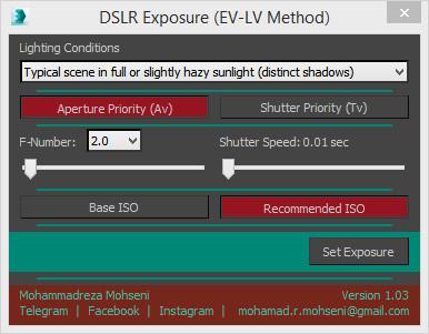 Mohammadreza Mohseni DSLR exposure script UI