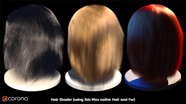 Corona Hair Material, 3ds Max native Hair and Fur