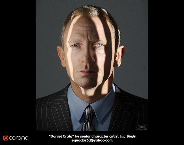 Daniel Craig by senior character artist Luc Bégin, equador3d@yahoo.com