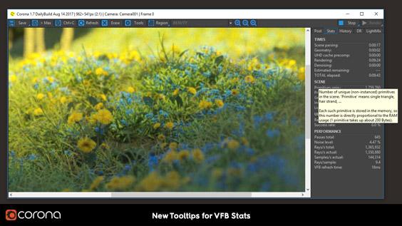 Corona Renderer 1.7, new Tooltips for Corona VFB Stats
