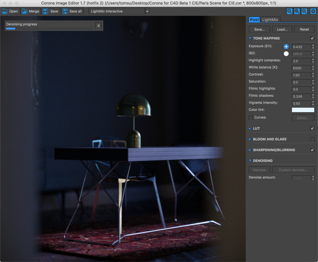 Corona Renderer for Cinema 4D, CIE on macOS