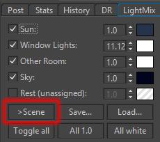 Corona Renderer for Cinema 4D LightMix to scene button