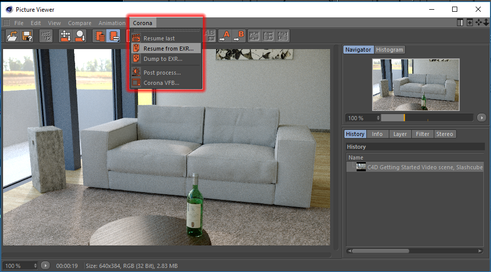 Corona Renderer for Cinema 4D resume from file in Picture Viewer