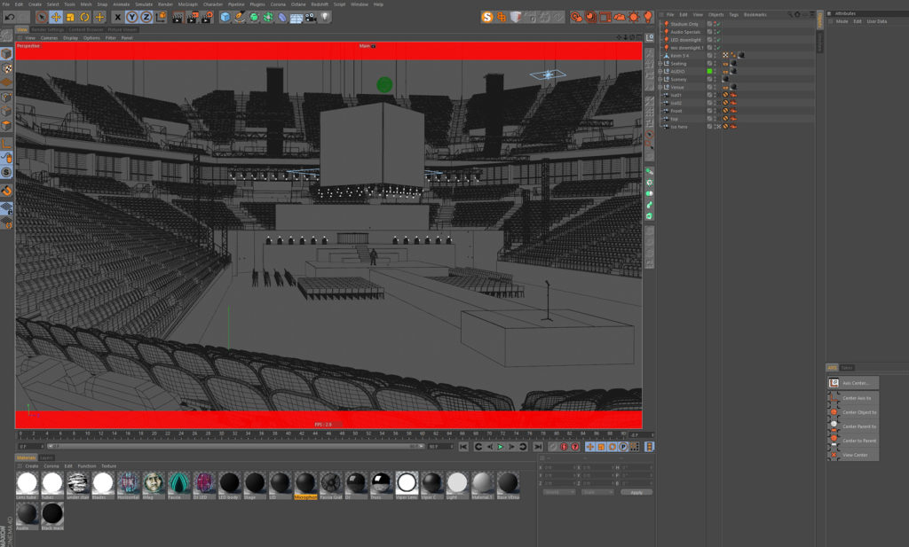 Evan Alexander, typical Cinema 4D layout