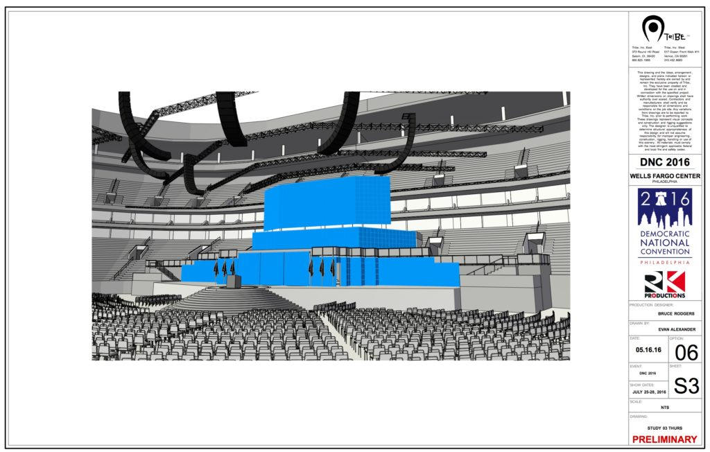 Evan Alexander, Vectorworks OpenGL render of the CAD for the 2016 Democratic National Convention. Production Designer: Bruce Rodgers.