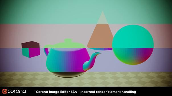 Corona Renderer 2, CIE 1.7.4 incorrect render element handling