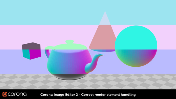 Corona Renderer 2, CIE 2 correct render element handling