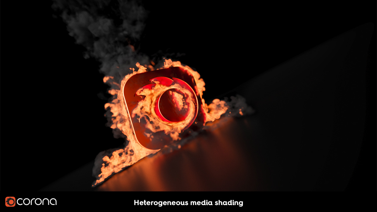 Corona Renderer 2, heterogeneous media
