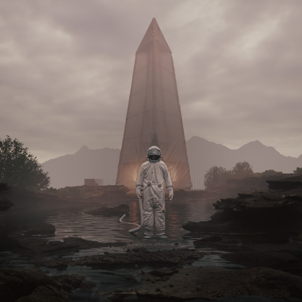 "Bartosz Domiczek ""Northern Wisps"", bonus astronaut render"