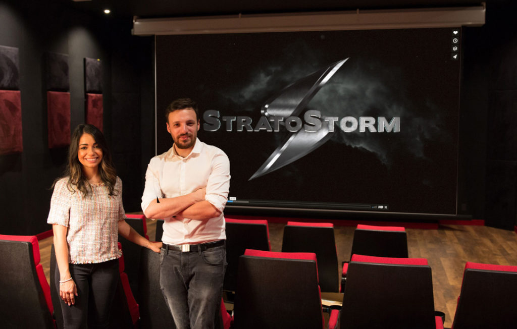Stratostorm, Founders Helena Hilario and Mario Pece in the 4K screening room at the L.A. location
