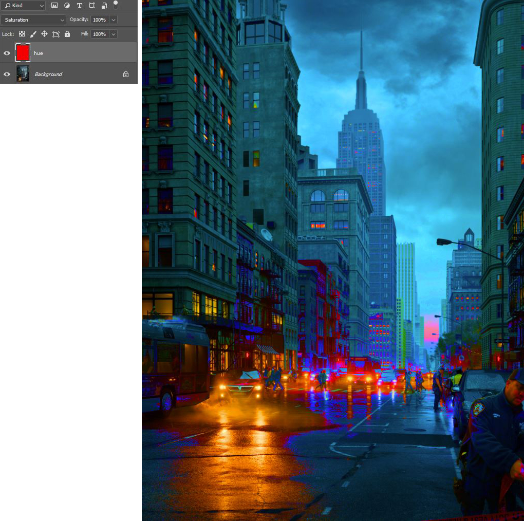 Davide Calabrò, checking the hue of composited elements