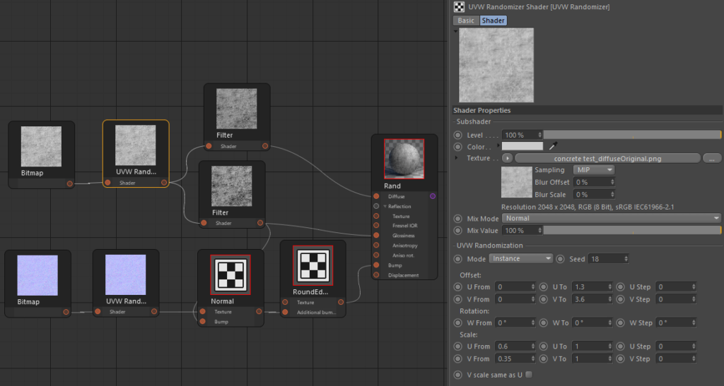 Corona Renderer for Cinema 4D, UVW Randomizer material set up