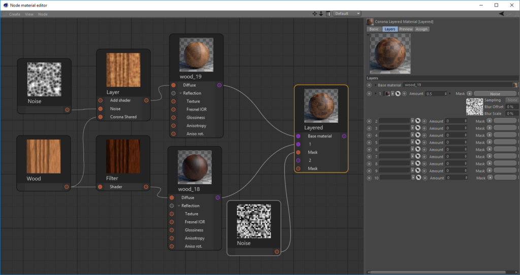 Corona Renderer for Cinema 4D, Layer shader and Layered Material