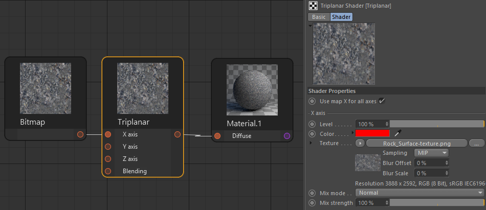Corona Renderer for Cinema 4D, Triplanar material set up