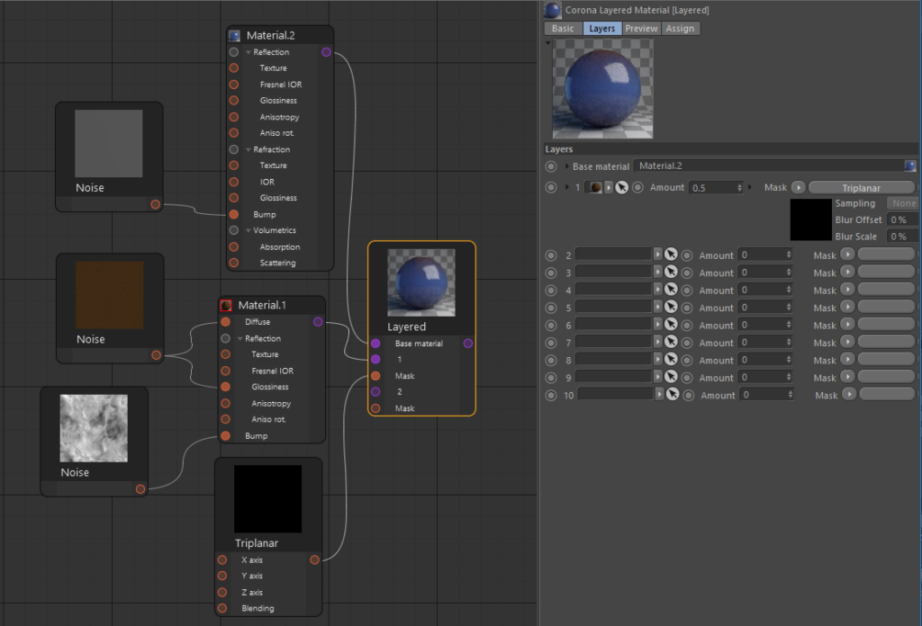 Corona Renderer for Cinema 4D, material set up using Triplanar as a mask between layers