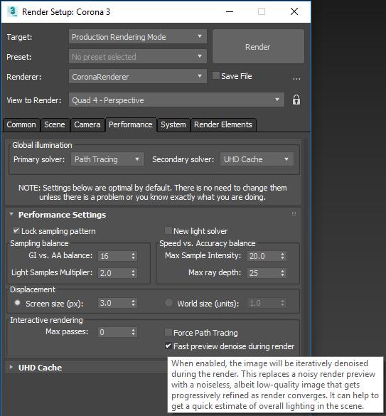 Corona Renderer 3 for 3ds Max, NVIDIA AI Optix GPU Denoising for IR