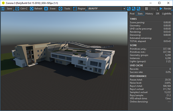 Corona Renderer for ARCHICAD, the VFB