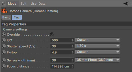 David Turfitt, Corona Renderer for Cinema 4D, sample DOF settings