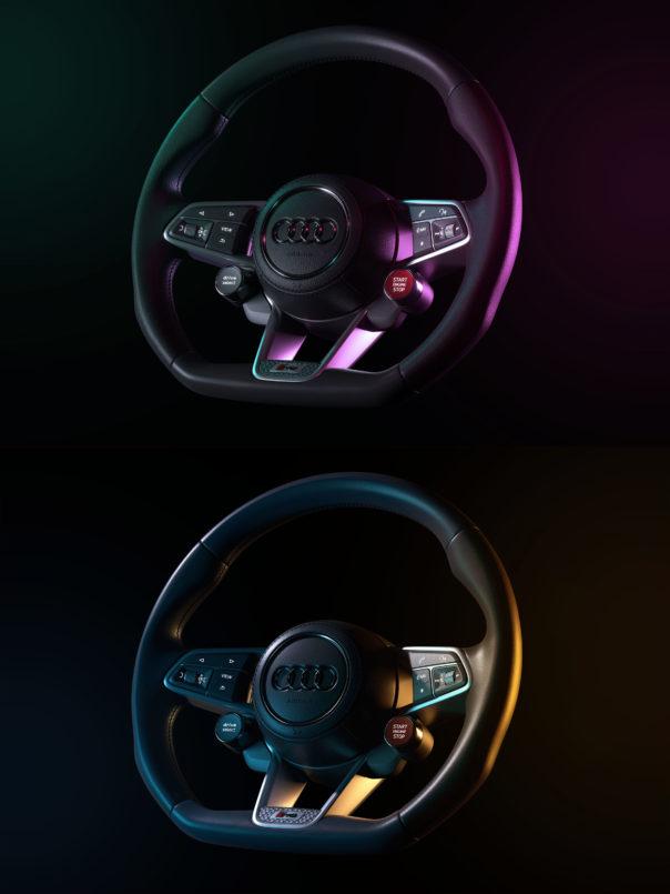 Matteo Rossi, steering wheel using Corona Renderer's LightMix