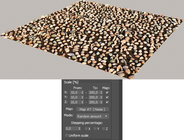 Corona Scatter, using the 'Random amount' mode, with the same grayscale map as input
