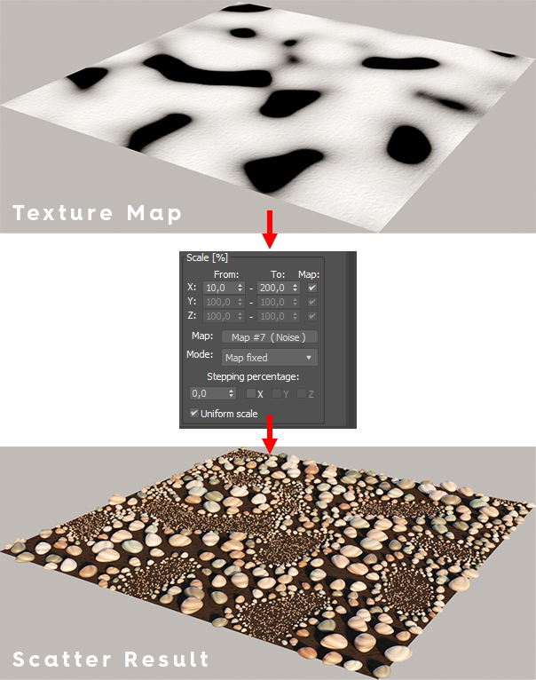 """Corona Scatter using a grayscale map in """"Map fixed"""" mode"""