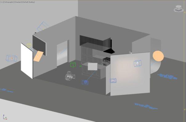 Pikcells, Wren Kitchens TV ads - the studio reconstructed in 3D.