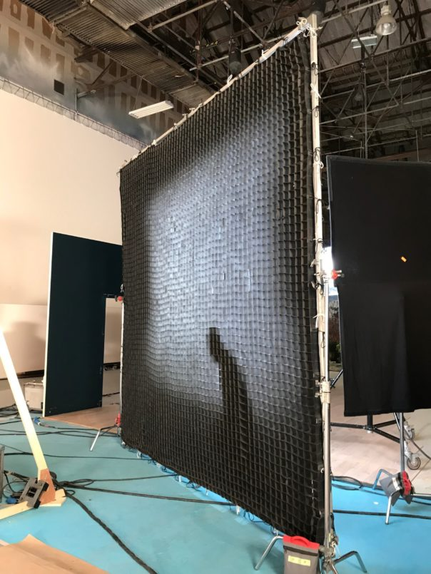 Pikcells, Wren Kitchens TV ads - the acrylic screen set up in the studio.
