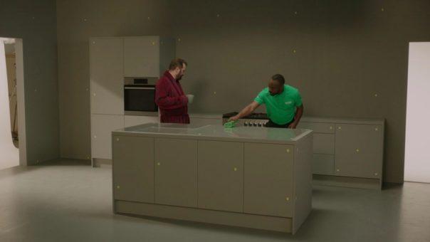 Pikcells, Wren Kitchens TV ads - filming on the set.