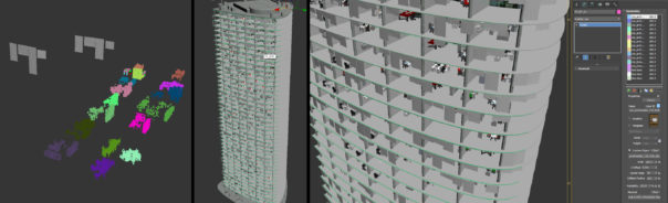 Lê Anh Nhân - Using Forest Pack to scatter furniture into the nearby buildings, where the extra level of detail is needed
