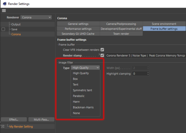 Corona Renderer 5 for Cinema 4D - The High Quality filtering option is now part of the drop down list for consistency (rather than a separate checkbox)