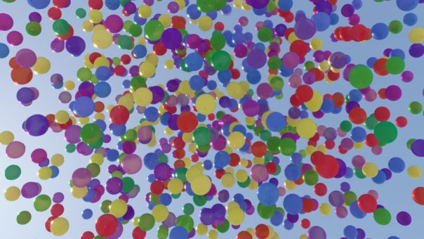 Corona Renderer 5 for Cinema 4D - All these balloons share a single material - the Multi Shader randomizes their colors.