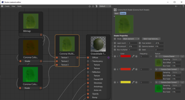 Corona Renderer 5 for Cinema 4D - The material set up for the grass scene - in this case, one bitmap is filtered to give three different variations for the Multi Shader to randomize between