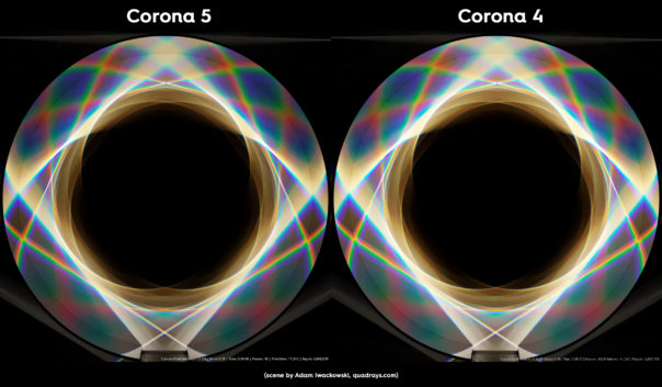 Corona Renderer 5 caustics improvements, prism scene comparison