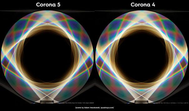 Corona Renderer 5 caustics improvements, prism scene comparison