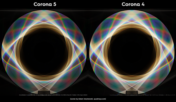 Corona Renderer 5 for Cinema 4D -  caustics improvements, prism scene comparison
