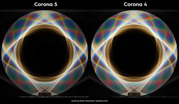 Corona Renderer 5 for Cinema 4D -  caustics improvements, prism scene comparison